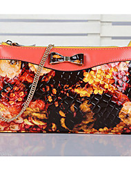 Mega Women's Floral Print Portable Leather Handbags