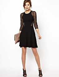 Women's Fretwork Slim High-Elastic Waist Lace Dress