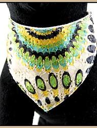 Pretty Green motif de paon brodé réglable en cuir véritable Bandana colliers pour animaux de compagnie Chiens (tailles assorties)