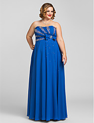 TS Couture Plus Size Prom Formal Evening Dress - Open Back Sheath / Column Strapless Floor-length Chiffon with Beading Bow(s)