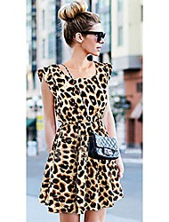 Laiyee Women's Fashion A-Line Leopard Print Sleeveless  Dress