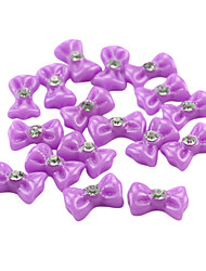 20PCS 3D Purple Resin Rhinestone Bowknot Nail Decorations
