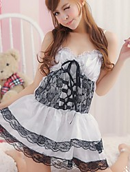 Women Sexy Lingerie Housemaid Maidservant Uniform Cosplay Costume White with Black Trim