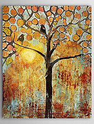 Hand Painted Oil Painting Landscape Two Birds in The Tree with Stretched Frame