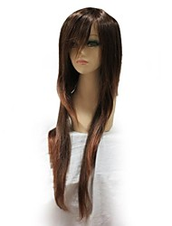 Capless sintético longo Brown peruca sintética completa