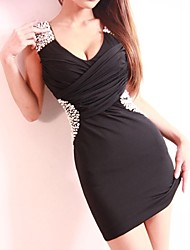 Sexy Back coton noir sans manches en V profond Perles Discothèque robe des femmes