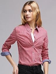 Mulheres Camisa Casual Simples Todas as Estações,Xadrez Azul / Vermelho / Preto / Verde Algodão Colarinho de Camisa Manga Longa Média