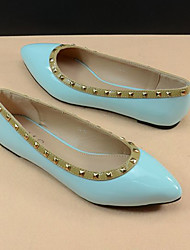 ZhuoShiMa Fashion Rivet Tip Head Flat Shoes(Light Blue)