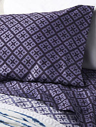 "Sheet Set,4-Piece Microfiber Retro Plaid Lavender with 12"" Pocket Depth"