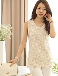 Women's Lace Beige Shirt , Casual Round Neck Sleeveless Lace