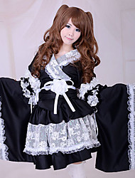 Skirt / Maid Suits Wa Lolita Lolita Cosplay Lolita Dress Black Patchwork Long Sleeve Medium LengthKimono Coat / Skirt / Armlet / Belt /