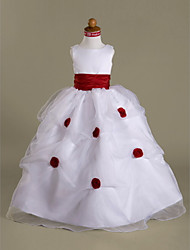 Ball Gown Floor-length Flower Girl Dress - Organza Satin Scoop with Flower(s) Pick Up Skirt Ruffles Side Draping