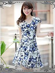 OL style des femmes d'été Encre de Chine Imprimer Maman heureuse Design Robe en mousseline de soie Suit Fat et Slim