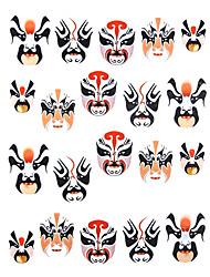 1PCS 3D Beijing Opera Art Nail Máscara Facial Stickers