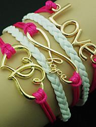 European Heart 18cm femmes ont augmenté bracelet enveloppe en cuir (couleur aléatoire)