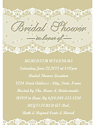 Personalized Flaxen Lace Pattern Bridal Shower Cards - Set of 12