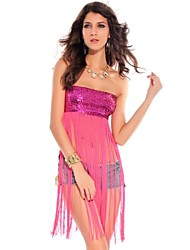 Women's Solid Black/Pink/Red/Yellow Vest Sleeveless Sequins/Tassel