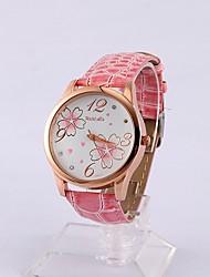 Womage Женская Цветочный Роуз Дело часы (розовый)