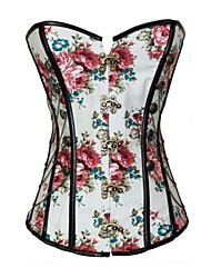 Women Overbust Corset Nightwear Floral Polyester / Spandex White Women's