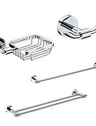4 Packed Brass Bath Accessories Set,  Single and  Double Towel Bar/Soap Basket/Robe Hook