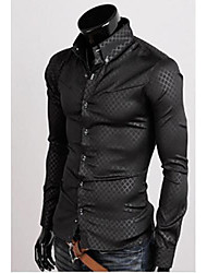 Men's Turnover Collar Commercial Long Sleeve Grid Pattern Shirt