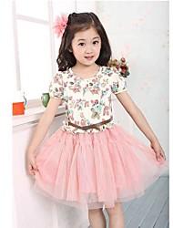 Mädchen Kleid Blumen Baumwollmischung / Netz Sommer Rosa