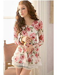 Women's Rose Print Lace Hem Blouse