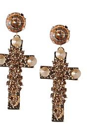 JANE PIERRE Trendy nouvelle arrivée brillant Golden Cross perlé Boucles d'oreilles pour les femmes
