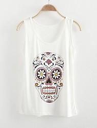 Women's Print Black/White T-shirt , Casual Round Neck Sleeveless