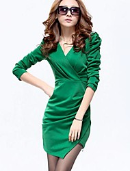 TS Surplice Neck Ruched Dress , Polyester Above Knee ½ Length Sleeve