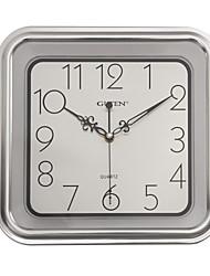 """11 """"H Rétro Mute Horloge murale carrée (Argent)"""