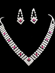 Wedding Bridal bridesmaid Crystal Pink Rhinestone Necklace Set