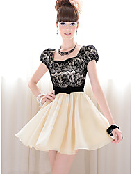 LUOOU Women's Europe Splice Lace Slim Fit Bow Short Sleeve Dress(Screen Color)