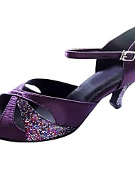 Customized Women's Satin and Sparkling Upper Open Toe Dance Shoes For Latin And Salsa