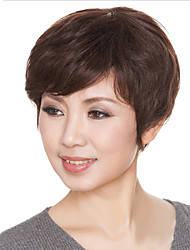 10 Inch Estilo Europeo pelucas de pelo corto y rizado marrón castaño Human Side-Bang