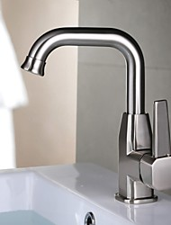 Contemporary Nickel Brushed One Hole Single Handle Brass Kitchen Faucet