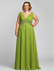 TS Couture Plus Size Prom Formal Evening Dress - A-line V-neck Floor-length Chiffon with Beading