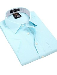 Été formelles shirts manches affaires à court modal bleu rayé diagonal de U-requin hommes Blouse Top EOZY