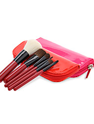 6PCS Pink Wooden Handle Makeup Brush Set with Leatherette Pouch (More Color)