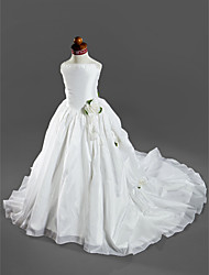 Ball Gown Court Train Flower Girl Dress - Satin Taffeta Spaghetti Straps with Appliques Pick Up Skirt Ruffles