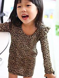 Leopard manga comprida vestidos da menina