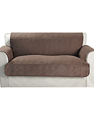 Waterproof Microsuede Brown Solid Cube Quilting Loveseat Cover