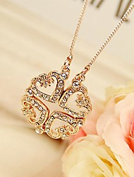 Four Leaf Clover Necklace Rose Gold Plated Heart Pendant Necklace Fashion Jewelry
