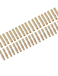 2.0mm Gold Plated Banana/Bullet Connectors with Heat Shrink Tube (20 pairs)