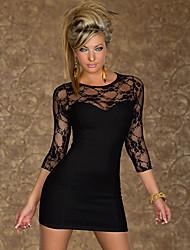 Tapuluo Moda feminina Lace Painel Preto Mini Bodycon vestido do verão vestido de Lady vestido ocasional bonito 9033 3 Cores