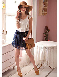 Women's Polka Dot Beige/Blue Dress , Cute Round Neck Sleeveless Pleated/Lace