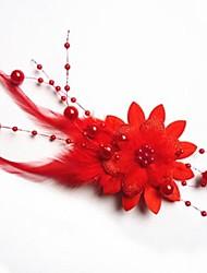 Moda Noiva Pena mantilha Flor Hairpin
