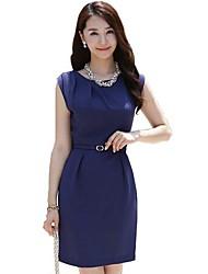 Hanyiou ® T-shirt das mulheres cor sólida pacote mangas Hip Magro Vestido