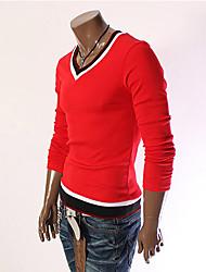 Aowofs Herren V-Ausschnitt, Kontrast-Farben-T-Shirt 16 rote