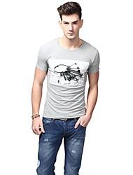 Summer Casual col rond de mode de coton gris T-shirts U-requin hommes Sauvegarde shirt EOZY